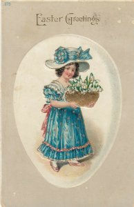 EASTER Greetings, Girl in Blue dress with gold trimming 1916