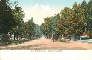 Columbus OH~Big Horse & Wagon on Broad St~Buggy Parked on Sidewalk~1905 Postcard
