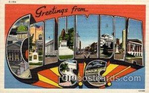 Columbia, South Carolina Large Letter Town Unused