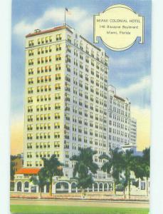 Unused Linen MIAMI COLONIAL HOTEL Miami Florida FL hr8243