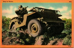 Vtg Linen Postcard - Tichnor Military Action Series - Jeep In Action - Unused