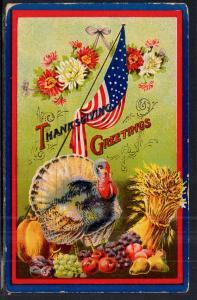 Thanksgiving Greetings Turkey Flag BIN