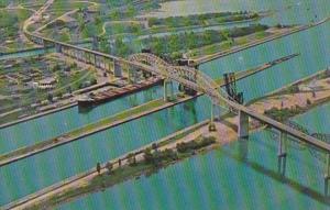 Canada Ontario Sault Ste Marie International Bridge Aerial View