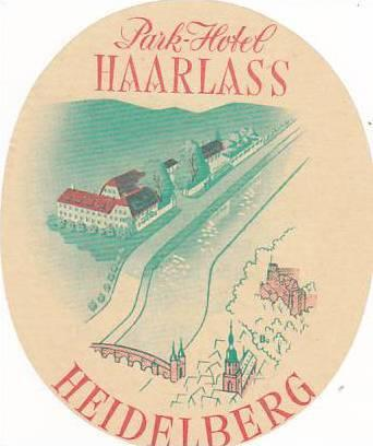 GERMANY HEIDELBERG PARK HOTEL HAARLASS VINATGE LUGGAGE LABEL
