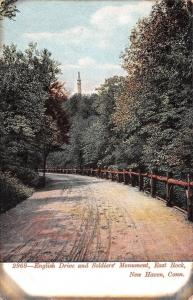 New Haven CT~English Drive~Dirt Road~Wood Fence~Soldier Monument~East Rock~1905