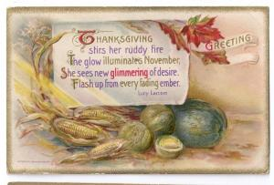 Thanksgiving Postcard Winsch Embossed Corn Lucy Larcom Poem 1910