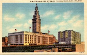 Ohio Cleveland New Post Office and Terminal Tower 1942 Curteich