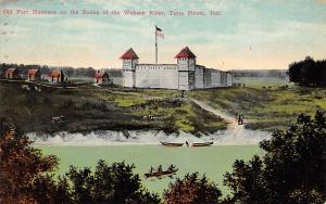 Terre Haute Indiana 1911 Postcard Old Fort Harrison on Banks of Wabash River