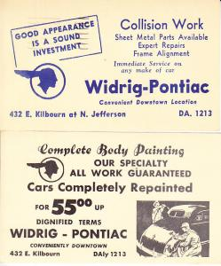 Postal Cards Ad Mailer from Pontiac  Body Shop 1940's