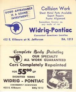 Postal Cards Ad Mailer from Pontiac  Body Shop 1940's