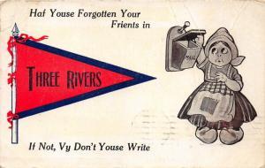 Three Rivers Michigan~Dutch Girl Getting Mail~Haf yous Forgotten?~1912 Pennant