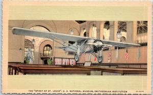 1940s Smithsonian Institution Postcard SPIRIT ST. LOUIS Lindbergh Airplane Linen