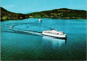 BC Ferries Ship Active Pass BC British Columbia Unused Vintage Postcard F58