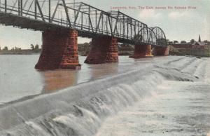LAWRENCE KANSAS~THE DAM ACROSS THE KANSAS RIVER~C W METTNER PUBL POSTCARD 1910s