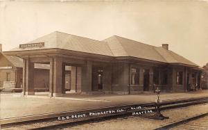 D13/ Princeton Illinois Il Real Photo RPPC Postcard c1910 C.B.C. Railroad Depot