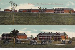 DES MOINES, Iowa, 00-10s; 2-views, Barracks, Fort Des Moines, cannons