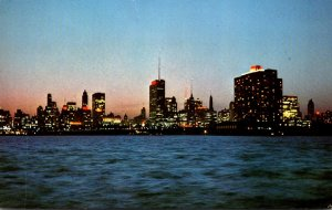 Illinois Chicago Skyline At Night From Breakwater Off Monroe Street 1969