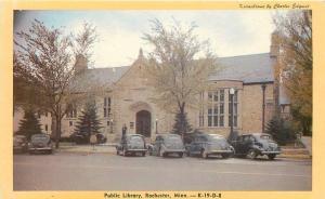 Rochester Minnesota~Public Library~NICE Black 1930-40s Cars~Kodachome Postcard