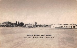 Block Hotel & Motel Angola, New York Postcard