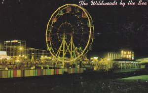 WILDWOOD by-the-SEA, New Jersey, PU-1972; Marine Pier, Ferris Wheel at night