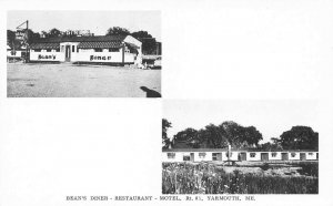 Yarmouth ME Bean's Diner On Route 1 & Motel Postcard