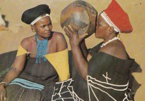 Maidens Kraal Drink drinking from Ukhamba Clay Pot South Africa Postcard
