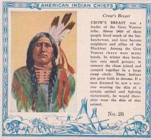 Red Man Chewing Tobacco American Indian Chiefs No 26 Crows Breast Gros Ventre...