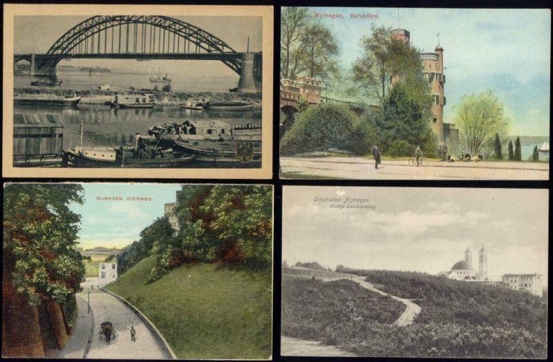 netherlands NIJMEGEN 4 postcards Waal Bridge, Belvedere