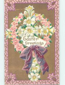 1909 Easter CROSS OF WHITE FLOWERS WITH PINK FLOWER WREATH & RIBBON o5953