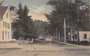 West Stewartstown New Hampshire Main Street Scene Antique Postcard K85101