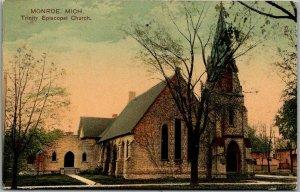 1908 Monroe, Michigan Postcard Trinity Episcopal Church Building View PCK 1908