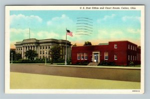 Celina OH, U.S. Post Office & Court House, Vintage Linen Ohio c1946 Postcard