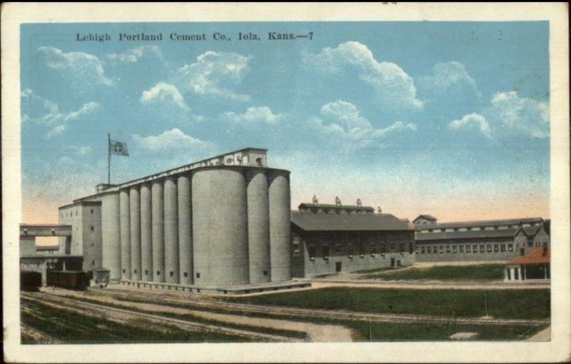 Iola KS Lehigh Portland Cement Co c1920 Postcard