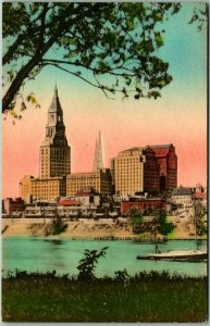 Hartford, Connecticut Hand-Colored Postcard TRAVELERS TOWER Skyline View c1930s