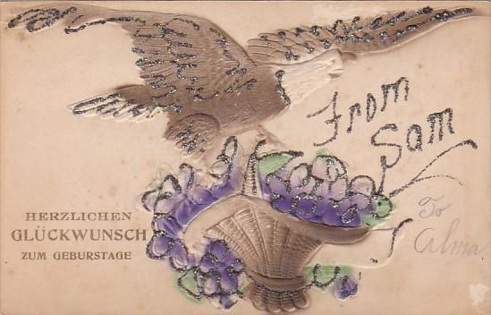 Birthday Eagle With Basket Of Flowers