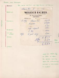 Amiens Select Hotel Receipt 1950s French Photo Ticket Ephemera
