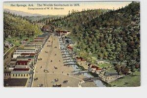 PPC POSTCARD ARKANSAS HOT SPRINGS THE WORLDS SANITARIUM 1875 AERIAL VIEW VERY CO