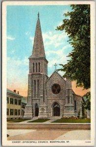 Montpelier, Vermont Postcard Christ (Episcopal) Church Street View / Unused