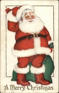 Christmas - Happy Santa Claus w/ Green Sack of Toys c1910 Postcard