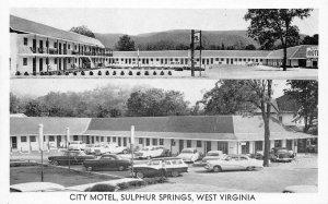 CITY MOTEL White Sulphur Springs, West Virginia Route 60 Roadside Postcard 1950s