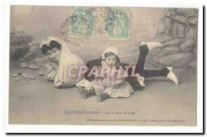 The Sands dOlonne Old Postcard On the dune in the sun (woman and child)
