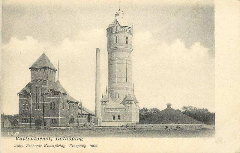 Early Lithograph Postcard; Vattentornet, Lidköping Sweden, Water Tower, unposted