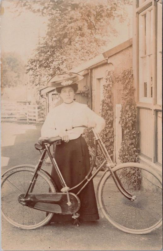 Woman w/ Hat Bike Bicycle RPPC Real Photo Postcard E35