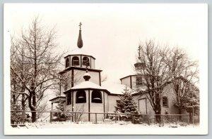 Kodiak AK~Snow-Flocked Evergreen Tree @ Russian Church~Octagon Belfry~RPPC 1940s