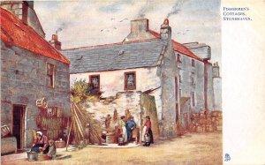 Fishermen's Cottages Stonehaven Scotland UK Tuck Oilette 1910c postcard