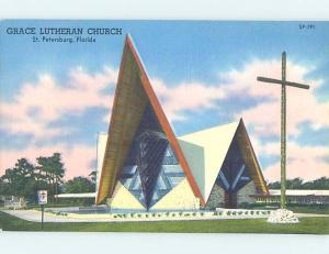 Unused Linen CHURCH SCENE St. Petersburg Florida FL G3695