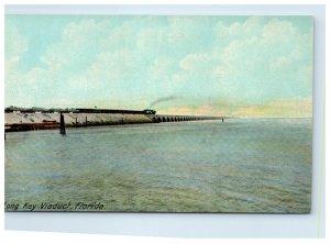 Early Florida Long Key Viaduct Postcard Passenger Train