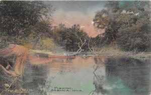 Sabula Iowa~Boy Fishing from Boat in Small Pond~Handcolored Albertype Postcard