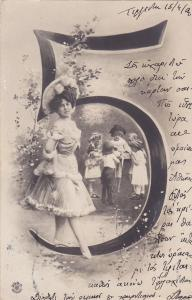 RP; Large number 5, Children playing and Young lady finely dressed, 1900-10s