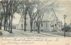 Westerly Rhode Island~Christ Church~1905 B&W Postcard